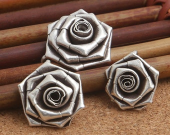 2 Karen Tribe Silver Rose Pendant, Karen Hill Silver Rose Flower Pendant, Hill Tribe Silver Rose Flower Charm 15mm, 17mm, 19mm - E490