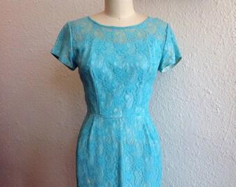 1960s Sky blue lace wiggle dress