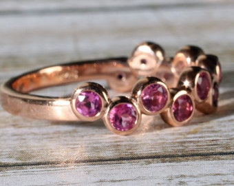 14k Rose Gold Genuine Pink Tourmaline Bezel Set Ring, Anniversary Band, 0.75 CTW