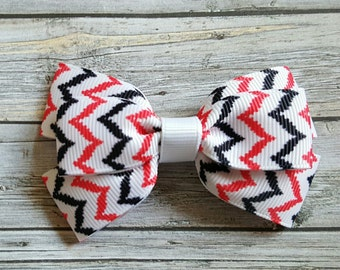 Black and Red Zigzag Hair Bow