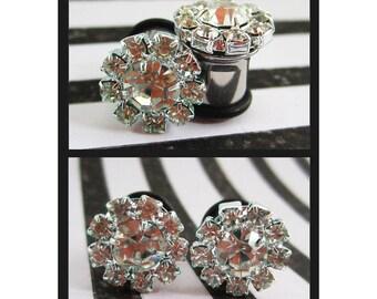 Bling of Rhinestones on single flare stainless steel Wedding EAR PLUGS earrings pick gauge 8g, 6g, 4g, 2g, 0g, 00g aka 3, 4, 5, 6, 8, 10mm