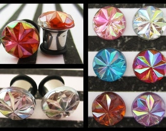 Starburst EAR TUNNEL PLUG Earrings you pick the gauge size and color 6g, 4g, 2g, 0g, 00g aka 4mm, 5mm, 6mm, 8mm 10mm