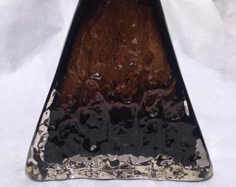 Whitefriars Art Glass Triangle Pyramid Vase - Cinnamon