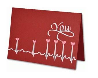 EKG Heart You , Blank Valentines Day Card , Free Confetti , husband , wife , boyfriend , girlfriend , lover , spouse , men , women