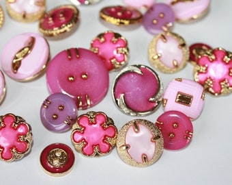 Mixed lot of baby pink cerise purple gold silver buttons, metal look fancy beautiful buttons, lot of 50 random designs, girls buttons
