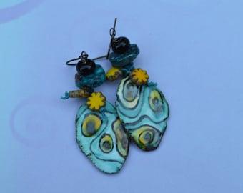 Blue Boho earrings ScorchedEarth - DayLilyStudio