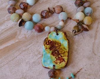 Boho beaded gemstone Necklace CapturedMoments - DayLilyStudio