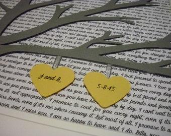 Custom First Dance Lyrics 11X14 Unframed 3D Paper Tree Wedding Gift, Anniversary, Wedding Song Lyrics