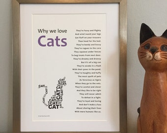 Poem for a cat-lover, ideal gift for a cat owner, cat poem print, cat quotes, cat wall art, custom poem print, cute animal gift