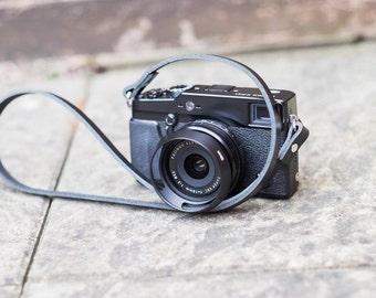 "Black Leather Camera Strap for film and digital cameras | Hand made | 36"" (91cm)"