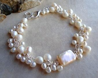 White Pearl Cluster Bracelet.Biwa Baroque Pearl.Wedding.Sterling Silver Plate.Beadwork.Bridal.Valentine.Birthday.Prom.Dainty.Handmade.