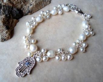 Hamsa Charm Bracelet.White Pearls Cluster Bracelet.Crystal.Bridal.Judaica.Hanukkah.Bat-Mitzvah.Protection.Valentine.Birthday.Gift.Handmade.