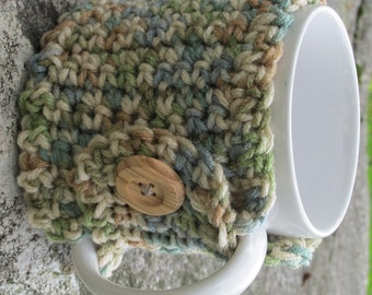 Green Blue And Tan Crochet Mug Cozy With Button Ready to Ship