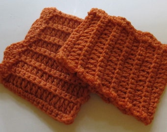 Crochet Boot Cuffs With Scallops in Carrot Orange Ready to Ship