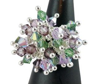 Ring Silver 925 and cluster Swarovski Crystal green and purple