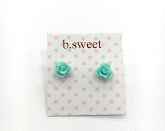 Mint Green Small Petite Rose Floral Stud Earrings | Flower Girl Earrings