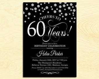 60th Birthday Invitation / Any Age / Cheers to 60 Years / Black Silver / Diamonds / Printable Invitation / Customized