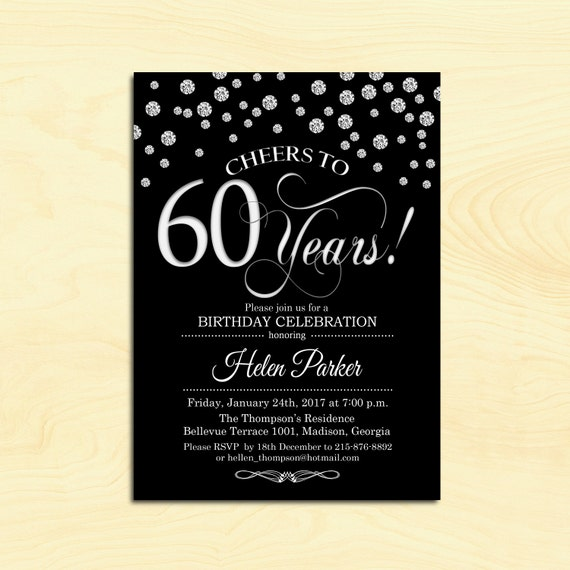 60th Birthday Invitation Any Age Cheers To 60 Years