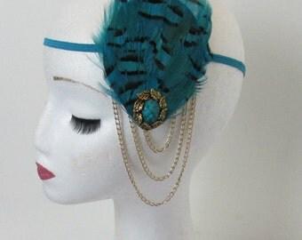 Turquoise Blue Black & Gold Chain Feather Headpiece Headband Flapper 1920s Great Gatsby Dress Headdress Charleston Art Deco N77