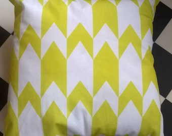 Geomtric Retro Soft Fabric Yellow and White Zig Zag Cushion Cover and Inner, Retro Pillow