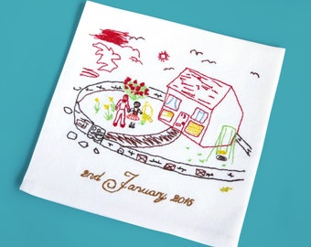 2nd Anniversary Gift for him - Your drawing embroidered - Cotton anniversary gift for him - Custom Napkins -  2nd wedding anniversary gift