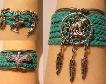 Wolf bracelet, wolf jewelry, owl bracelet, owl jewelry, dreamcatcher bracelet, dreamcatcher jewelry, leather wolf bracelet, wildlife jewelry