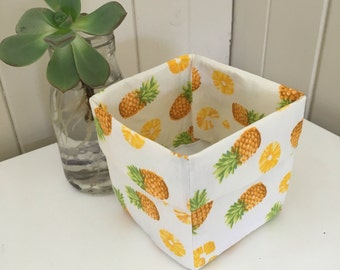 Mini Linen Fabric Bin or Basket in Pineapple fabric.  Fun fabric for organising a childs nursery or bedroom !