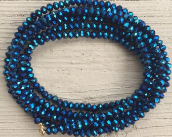 6mm Royal Blue Wrap Necklace // sparkly