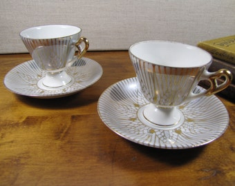 Two (2) Small Norleans Gray Lusterware Teacup and Saucers Sets - Gold Accent