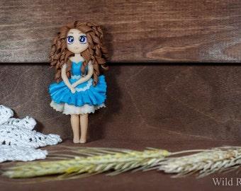 Brooch doll made of polymer clay handmade
