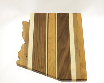 Solid Hardwood - Arkansas Cutting Board - Cutting Board in the Shape of AR made out of Hardwood - Cheese Board