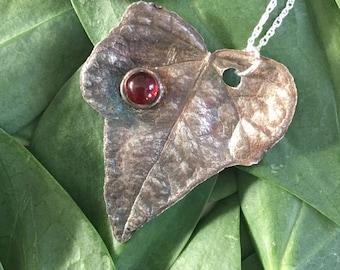 Fine Silver Autumn Leaf Pendant with Garnet