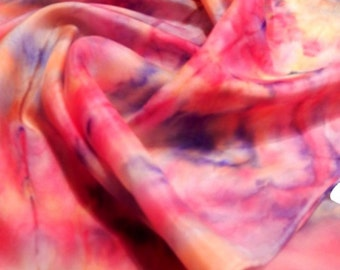 Fire , silk scarf , hand painted,