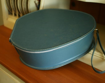 Quality Vintage Blue Oval Shaped Train Case, Small Luggage, Measures 12.5 x 10 inches and 4.5 inches high