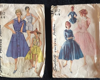 2 x 50s Dress Patterns Size 18 Bust 36 inches.