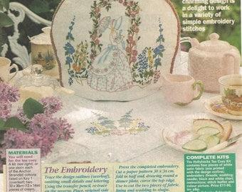 Vintage Embroidery Pattern Crinoline Lady Hollyhocks Roses Magazine Pattern 80s