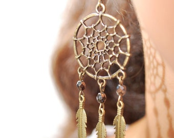 DreamCatcher earrings, hippie earrings, Dream Catcher summer feather earrings, bohemian earrings, gypsy