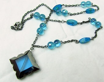 "Aqua Blue Glass ~ Beaded Necklace ~ 22"" ~ Pewter Tone Chain ~ Original Handmade"