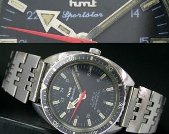 Vintage HMT SportStar 36mm Turnograph Winding Steel Mens Watch & Band - 11967