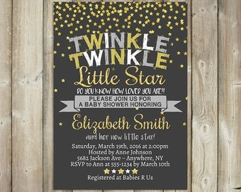 TWINKLE TWINKLE Little Star Baby Shower Invitation - Gender Neutral Baby Shower Invite - Glitter Gold Stars - Digital File