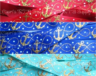 "7/8"" Gold Laser Foil Infinity Anchors Summer Beach Ocean -- Red, Navy Blue, Tropic US Designer Grosgrain Ribbon"