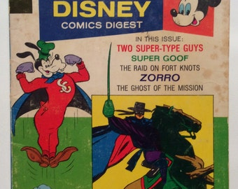 Walt Disney Comics Digest Two Super Type Guys, Super Goof, The Raid On Fort Knots, Zorro, The Ghost Of The Mission Issue No. 52 1975