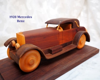 "Artist Jack BRANT ""1928 Mercedes Benz"" Hand-Crafted Wood (DARK Cherry-Walnut) Replica Car+Stand-Signed-Numbered-80's Collectible-EXCELLENT"