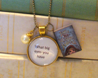 Book Nook Necklace, Little Red Riding Hood Necklace, Quote Necklace, What Big Eyes, Antique Gold Pendant Necklace, Bead Chain, MarjorieMae