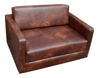 Urban Retro  Flip Out Cuddle Sofabed Upholstered in A  Premium Chestnut Faux Leather