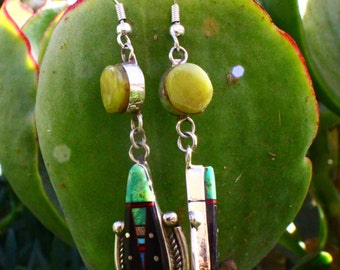 Green turquoise and Onyx Earrings