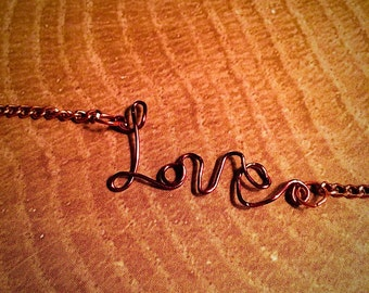 Handmade Wire Love Necklace