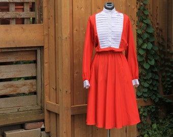 Vintage 1980's Eaton Exclusive Red with White Pleets Dress / Causal / Pretty / Office