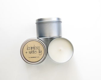 Bamboo + White Lily: Travel Tin 4oz (Natural Soy Wax Candle)