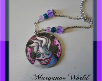 Ursula necklace - The little mermaid - Walt Disney - hand painted - hand drawing - Disney jewels - Disney necklace